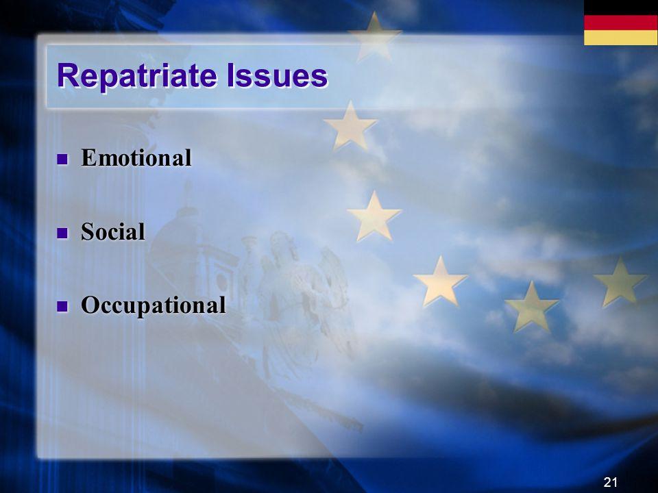 21 Repatriate Issues Emotional Social Occupational Emotional Social Occupational