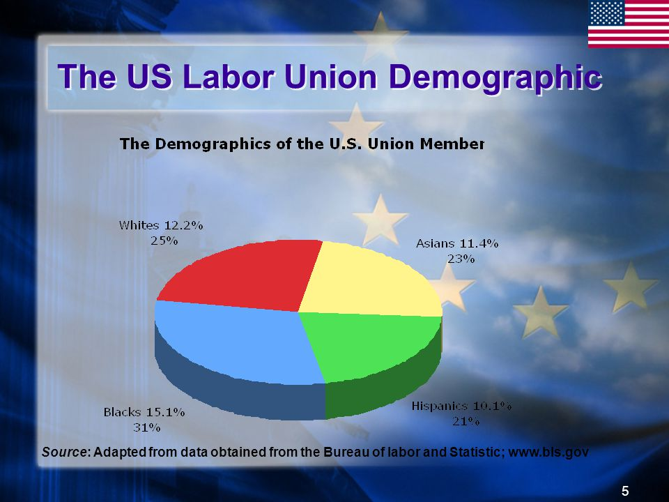 5 The US Labor Union Demographic Source: Adapted from data obtained from the Bureau of labor and Statistic; www.bls.gov