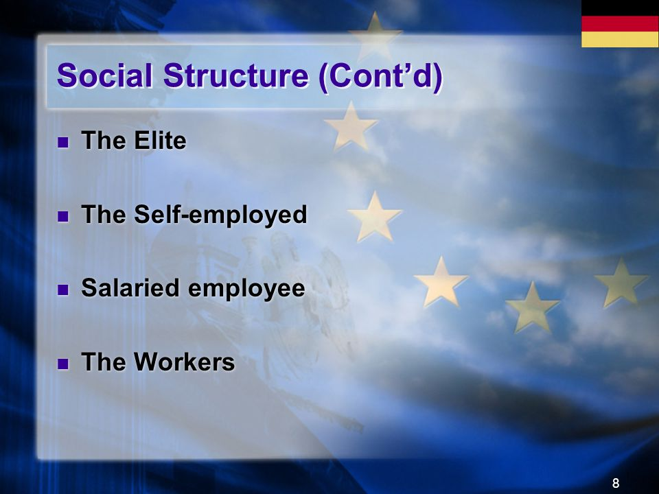 8 Social Structure (Cont'd) The Elite The Self-employed Salaried employee The Workers The Elite The Self-employed Salaried employee The Workers