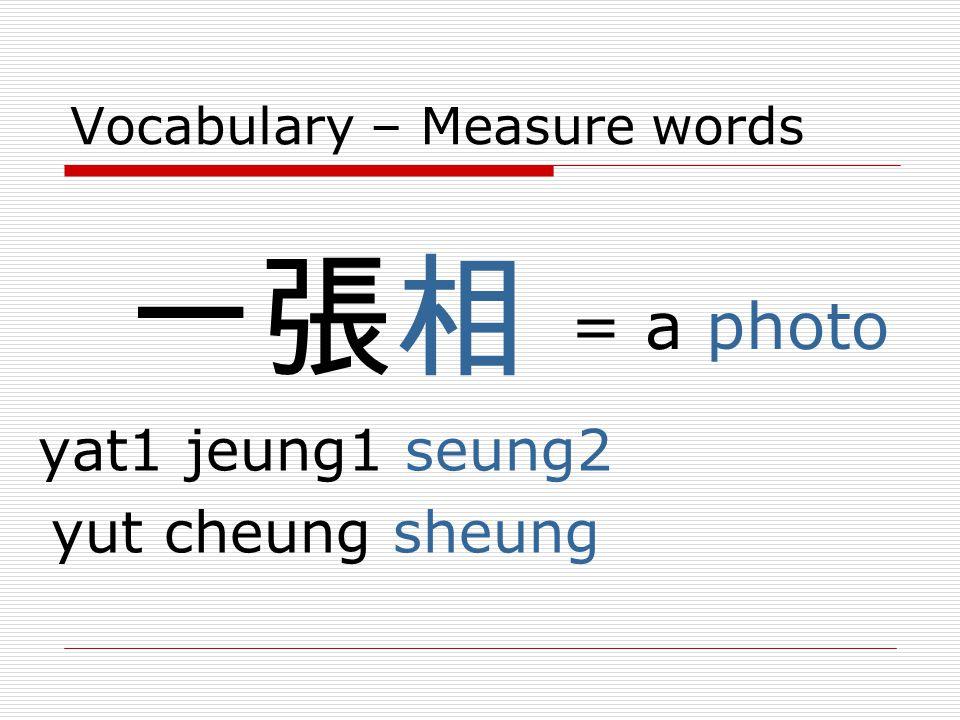 Vocabulary – Measure words 一張相 yat1 jeung1 seung2 yut cheung sheung = a photo