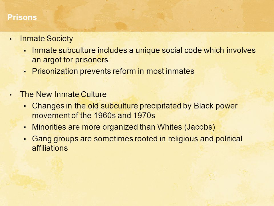Prisons Inmate Society  Inmate subculture includes a unique social code which involves an argot for prisoners  Prisonization prevents reform in most inmates The New Inmate Culture  Changes in the old subculture precipitated by Black power movement of the 1960s and 1970s  Minorities are more organized than Whites (Jacobs)  Gang groups are sometimes rooted in religious and political affiliations
