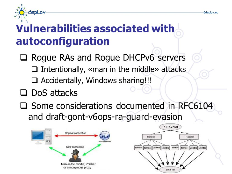 Vulnerabilities associated with autoconfiguration  Rogue RAs and Rogue DHCPv6 servers  Intentionally, «man in the middle» attacks  Accidentally, Windows sharing!!.