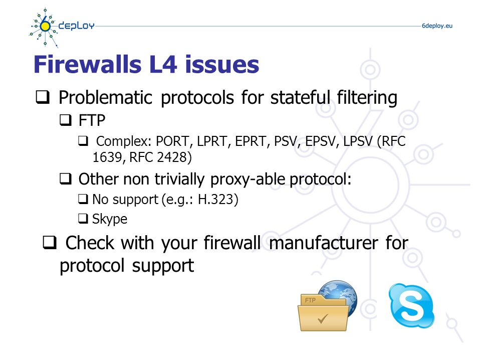 Firewalls L4 issues  Problematic protocols for stateful filtering  FTP  Complex: PORT, LPRT, EPRT, PSV, EPSV, LPSV (RFC 1639, RFC 2428)  Other non trivially proxy-able protocol:  No support (e.g.: H.323)  Skype  Check with your firewall manufacturer for protocol support