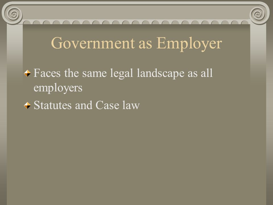 Government as Employer Faces the same legal landscape as all employers Statutes and Case law