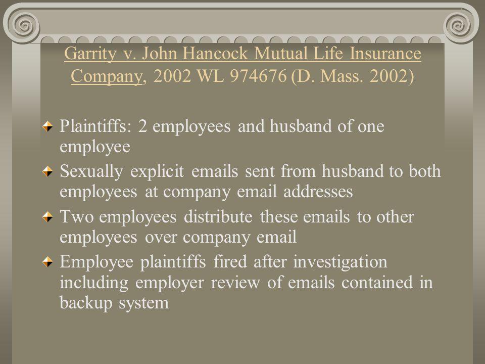 Garrity v. John Hancock Mutual Life Insurance Company, 2002 WL 974676 (D.