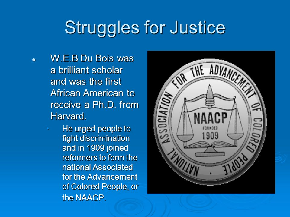 Struggles for Justice W.E.B Du Bois was a brilliant scholar and was the first African American to receive a Ph.D. from Harvard. W.E.B Du Bois was a br