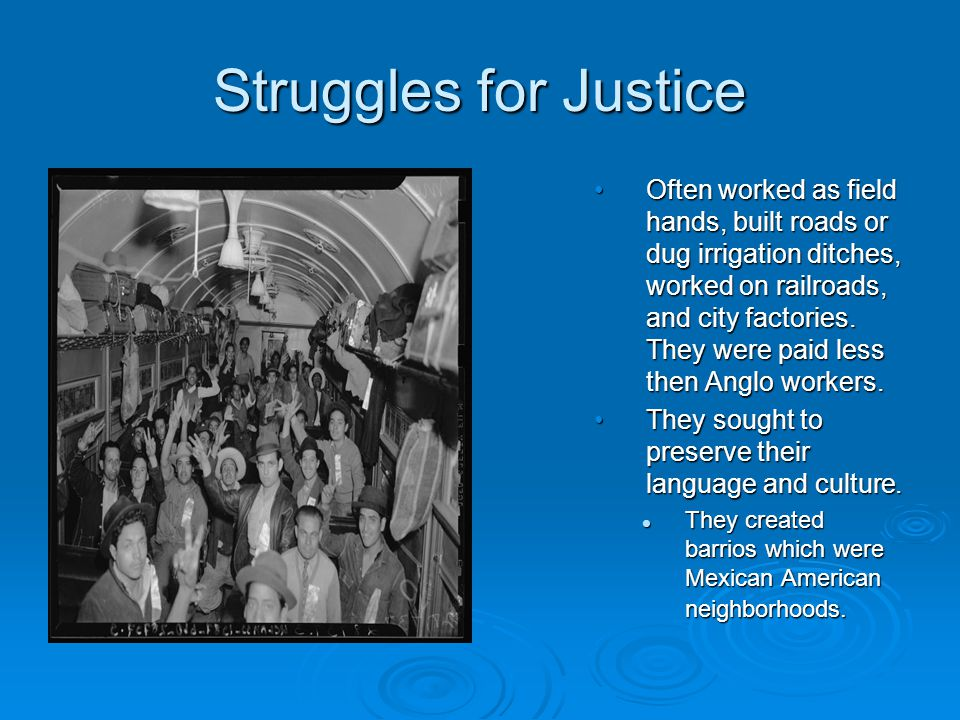Struggles for Justice Often worked as field hands, built roads or dug irrigation ditches, worked on railroads, and city factories. They were paid less