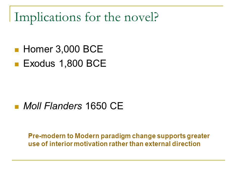Implications for the novel? Homer 3,000 BCE Exodus 1,800 BCE Moll Flanders 1650 CE Pre-modern to Modern paradigm change supports greater use of interi