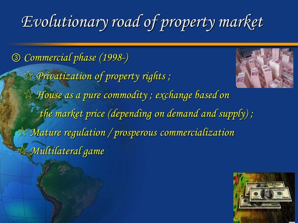 Marketing analysis of property market Stakeholders' game (1) Government Property developer Speculator Bank Purchaser landfund loan interest house revenue house spread registering tax loan credit