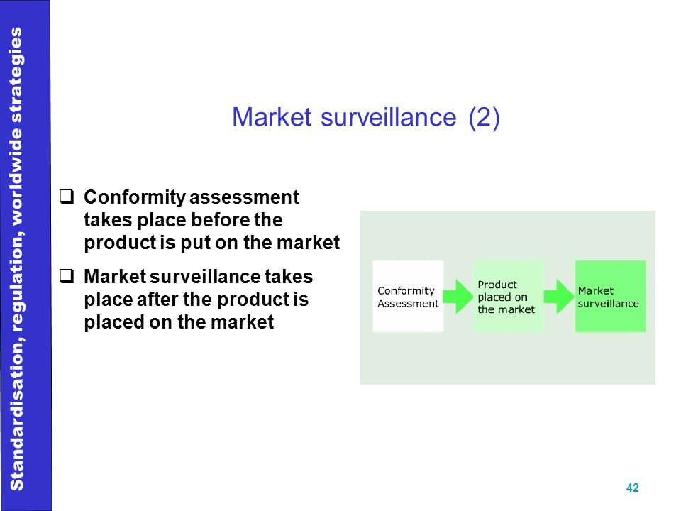 Standardisation, regulation, worldwide strategies 42 Market surveillance (2)  Conformity assessment takes place before the product is put on the market  Market surveillance takes place after the product is placed on the market