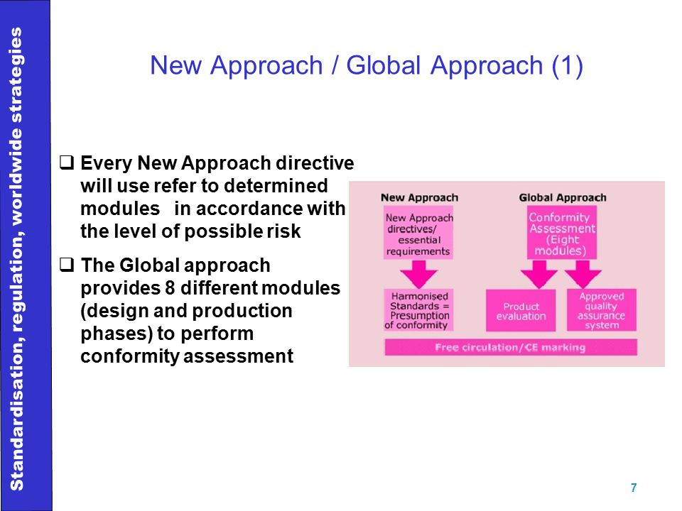 Standardisation, regulation, worldwide strategies 7 New Approach / Global Approach (1)  Every New Approach directive will use refer to determined modules in accordance with the level of possible risk  The Global approach provides 8 different modules (design and production phases) to perform conformity assessment