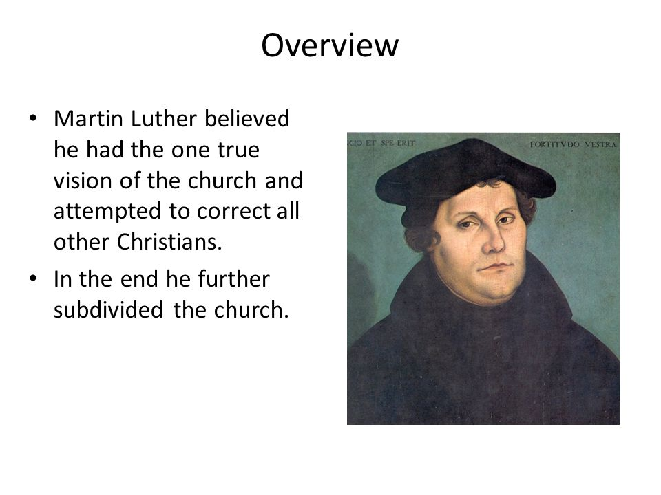 Overview Martin Luther believed he had the one true vision of the church and attempted to correct all other Christians. In the end he further subdivid