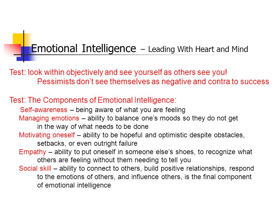 Emotional Intelligence – Leading With Heart and Mind Test: look within objectively and see yourself as others see you.