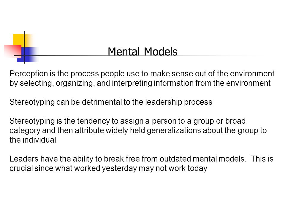 Mental Models Perception is the process people use to make sense out of the environment by selecting, organizing, and interpreting information from the environment Stereotyping can be detrimental to the leadership process Stereotyping is the tendency to assign a person to a group or broad category and then attribute widely held generalizations about the group to the individual Leaders have the ability to break free from outdated mental models.