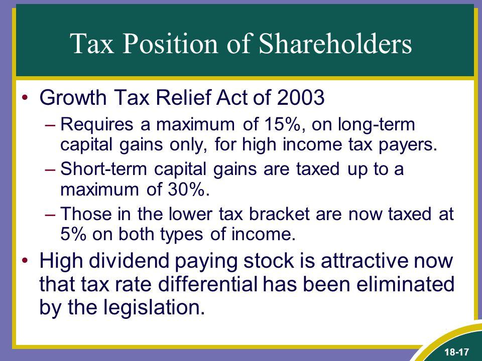18-17 Tax Position of Shareholders Growth Tax Relief Act of 2003 –Requires a maximum of 15%, on long-term capital gains only, for high income tax payers.