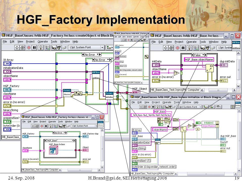 24. Sep. 2008H.Brand@gsi.de, SEI Herbsttagung 2008 19 HGF_Factory Implementation