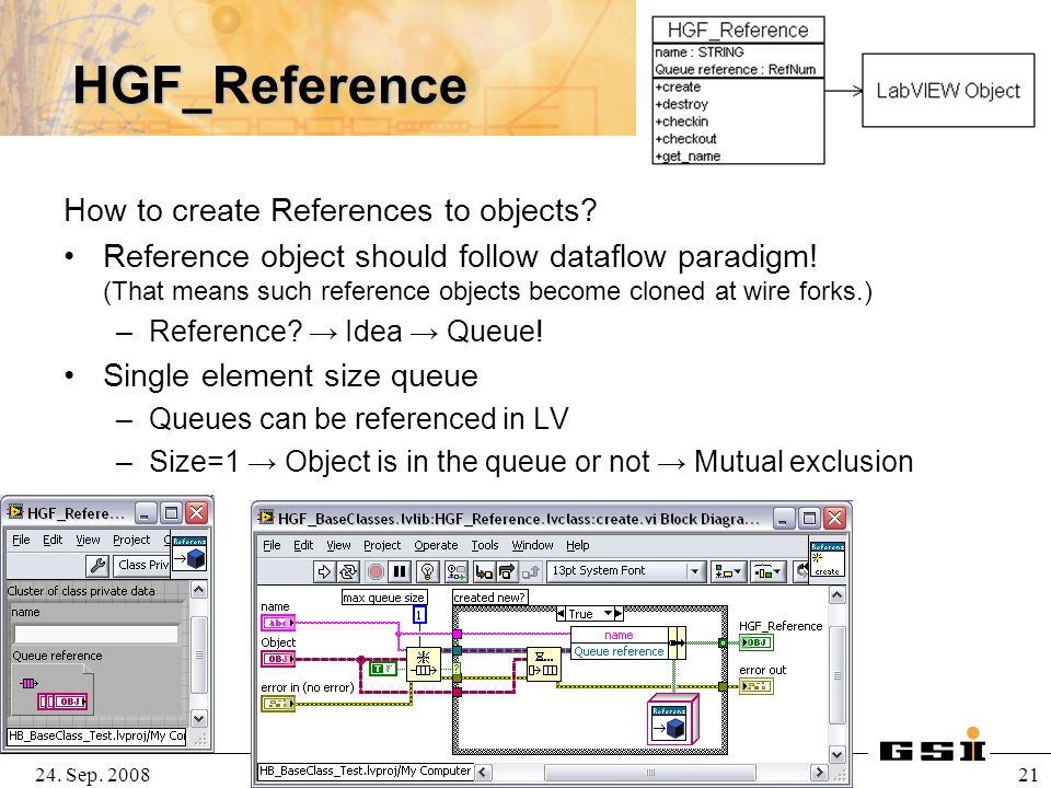 24. Sep. 2008H.Brand@gsi.de, SEI Herbsttagung 2008 21 HGF_Reference How to create References to objects? Reference object should follow dataflow parad