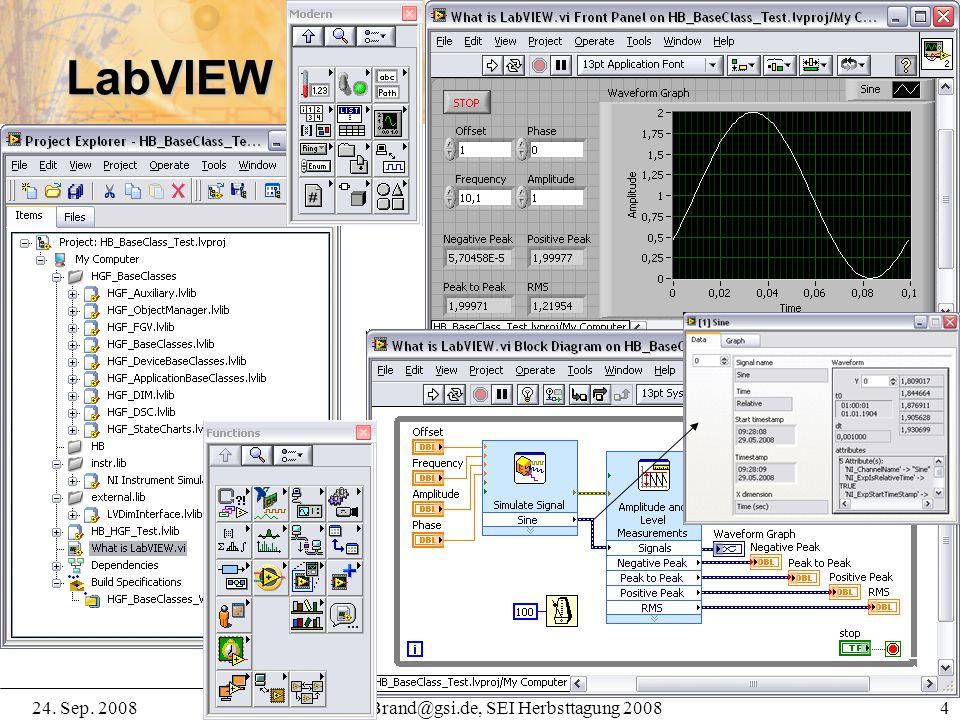24. Sep. 2008H.Brand@gsi.de, SEI Herbsttagung 2008 4 LabVIEW 8.5