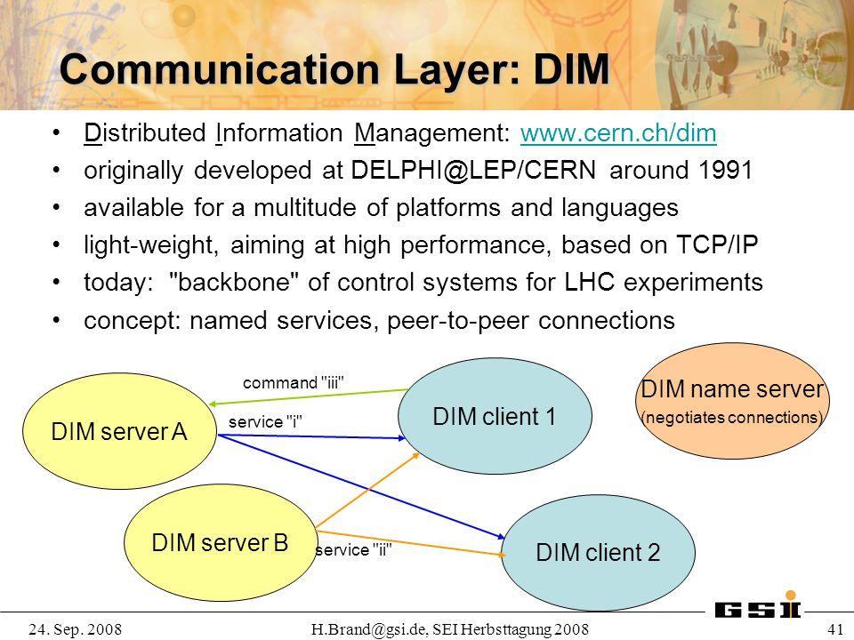 24. Sep. 2008H.Brand@gsi.de, SEI Herbsttagung 2008 41 Communication Layer: DIM Distributed Information Management: www.cern.ch/dimwww.cern.ch/dim orig