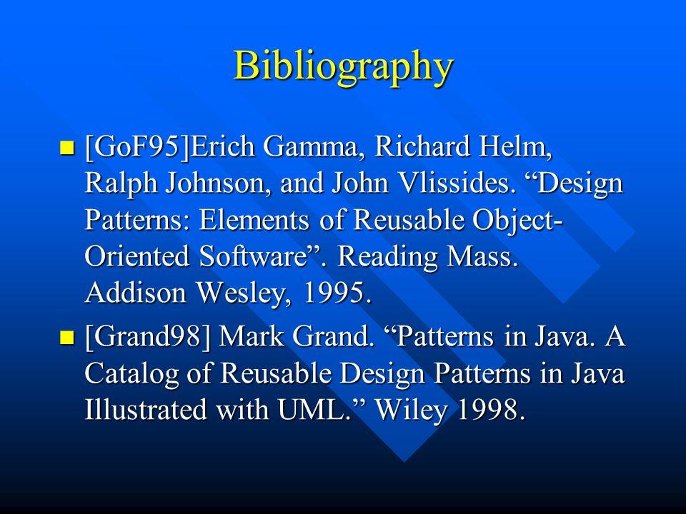 Bibliography [GoF95]Erich Gamma, Richard Helm, Ralph Johnson, and John Vlissides.