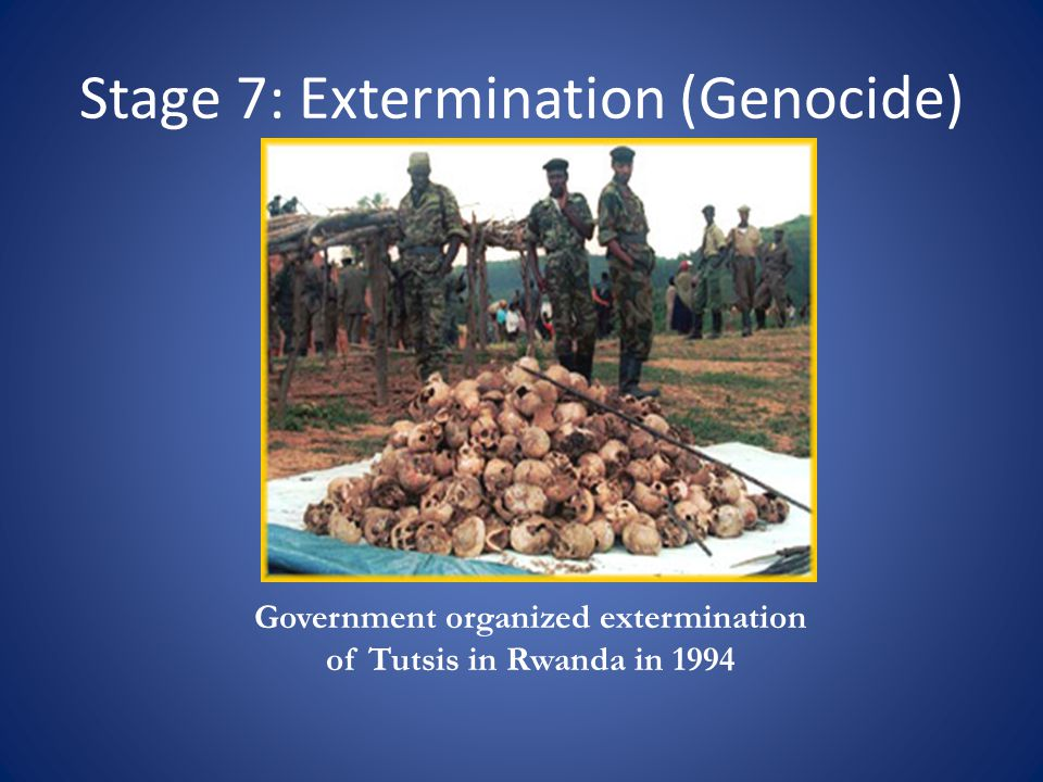 Stage 7: Extermination (Genocide) Government organized extermination of Tutsis in Rwanda in 1994