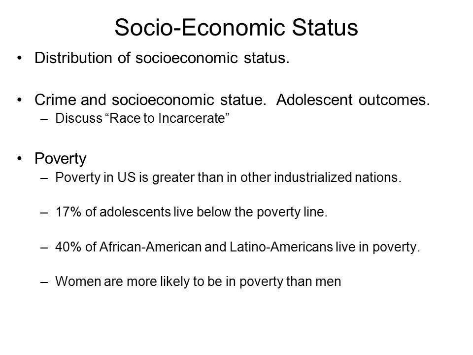 Socio-Economic Status Distribution of socioeconomic status.