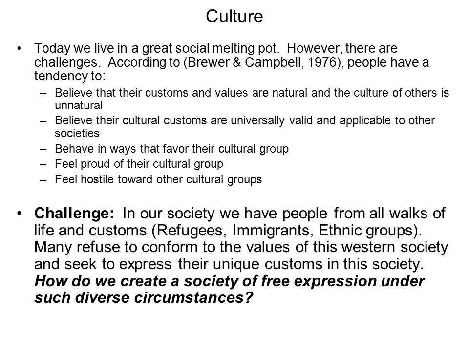 Culture Today we live in a great social melting pot.