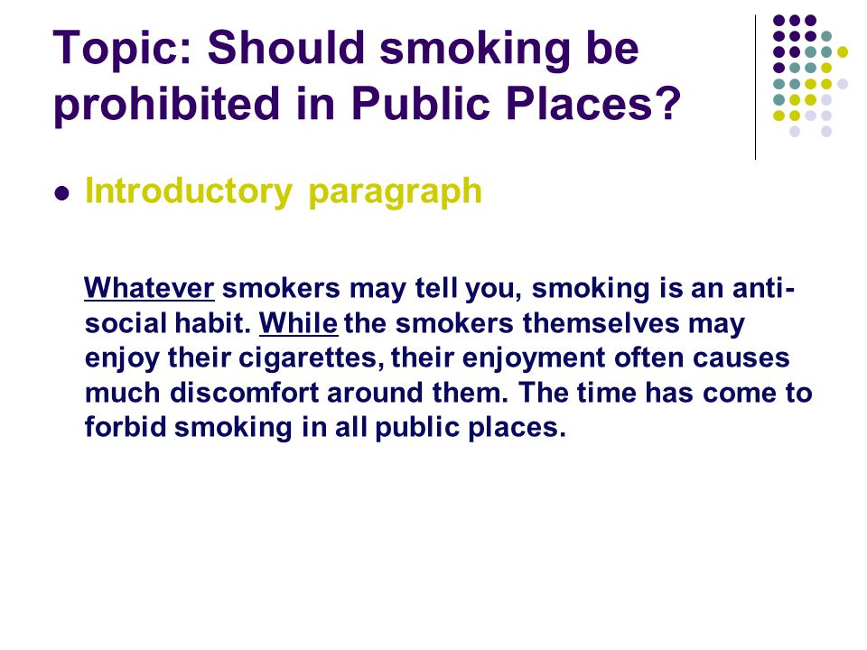 Topic: Should smoking be prohibited in Public Places.
