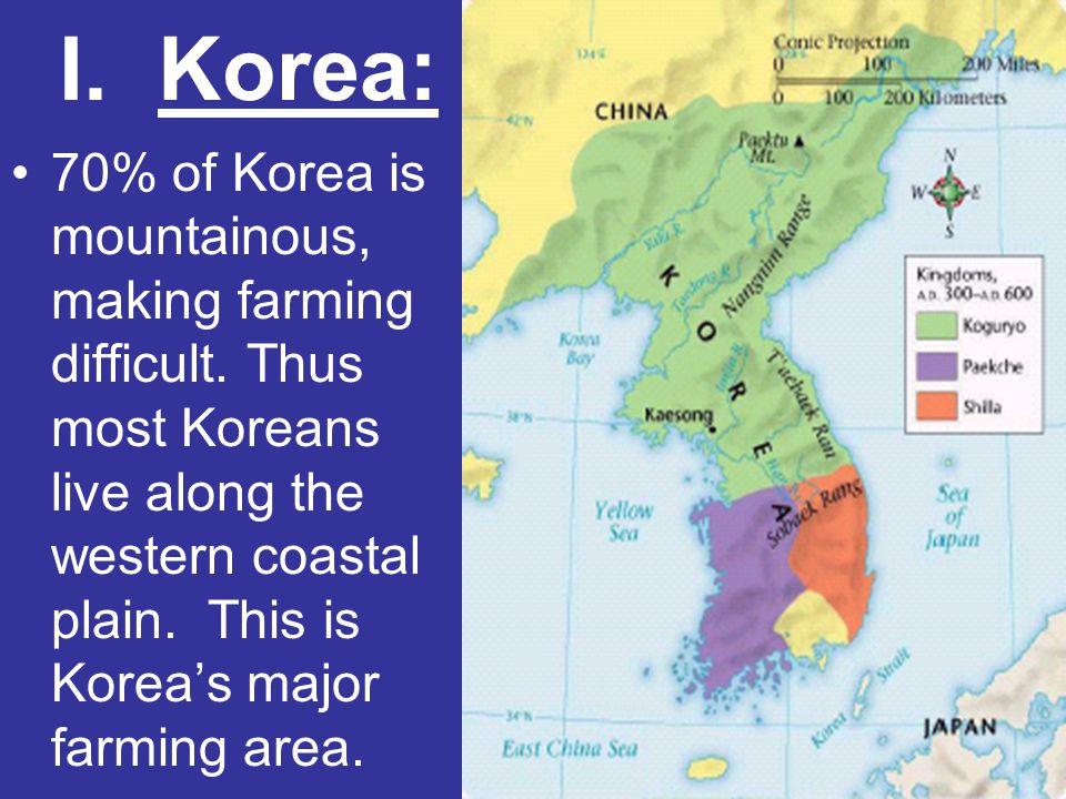 I. Korea: 70% of Korea is mountainous, making farming difficult. Thus most Koreans live along the western coastal plain. This is Korea's major farming