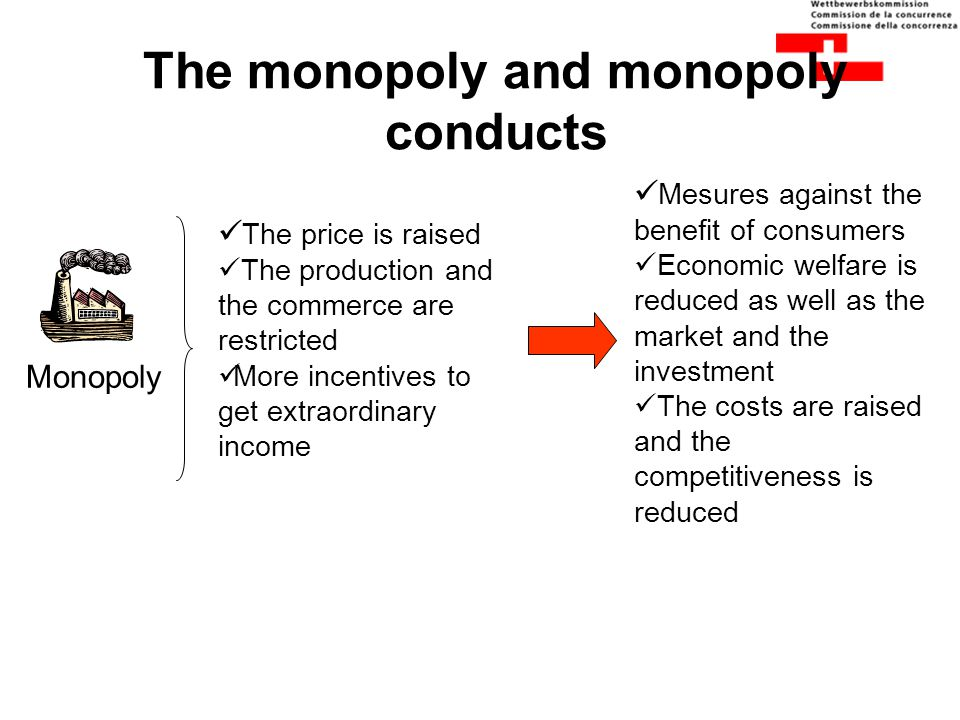 The monopoly and monopoly conducts Monopoly The price is raised The production and the commerce are restricted More incentives to get extraordinary in