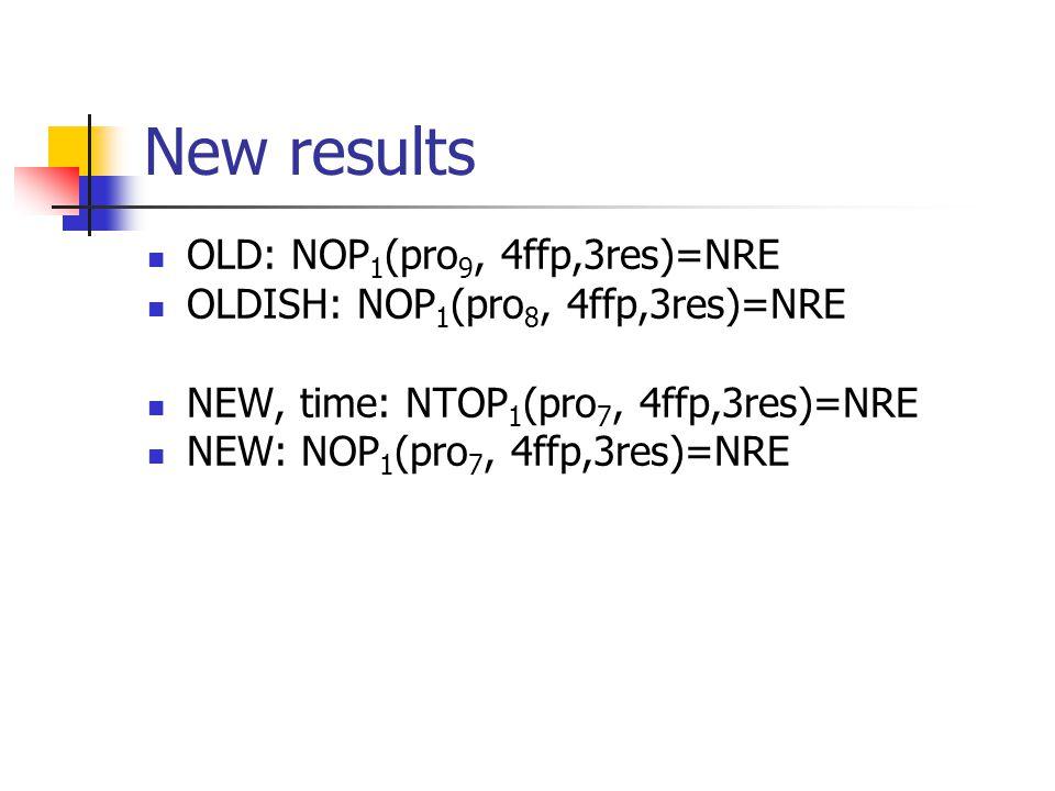 New results OLD: NOP 1 (pro 9, 4ffp,3res)=NRE OLDISH: NOP 1 (pro 8, 4ffp,3res)=NRE NEW, time: NTOP 1 (pro 7, 4ffp,3res)=NRE NEW: NOP 1 (pro 7, 4ffp,3res)=NRE