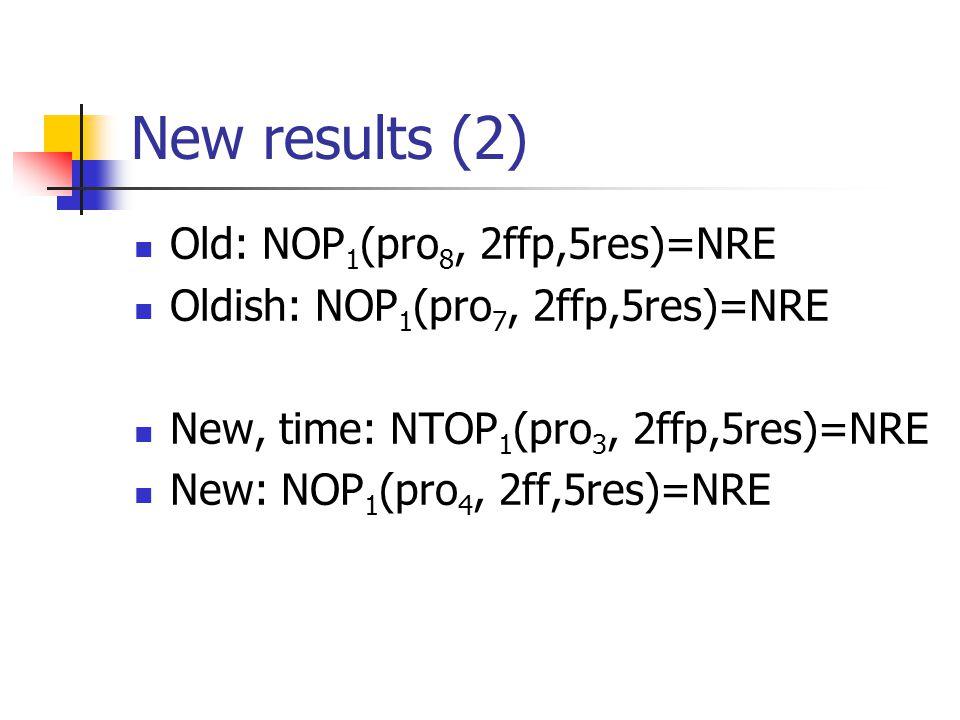 New results (2) Old: NOP 1 (pro 8, 2ffp,5res)=NRE Oldish: NOP 1 (pro 7, 2ffp,5res)=NRE New, time: NTOP 1 (pro 3, 2ffp,5res)=NRE New: NOP 1 (pro 4, 2ff,5res)=NRE