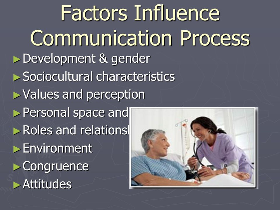 Factors Influence Communication Process ► Development & gender ► Sociocultural characteristics ► Values and perception ► Personal space and territoriality ► Roles and relationships ► Environment ► Congruence ► Attitudes