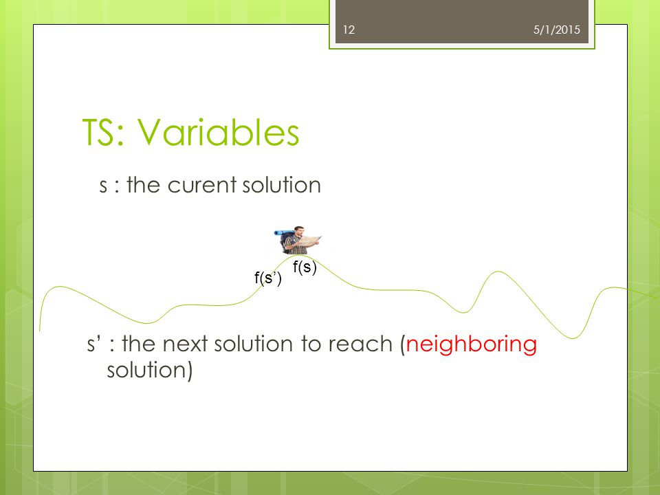 TS: Variables s : the curent solution s' : the next solution to reach (neighboring solution) 5/1/201512 f(s) f(s')