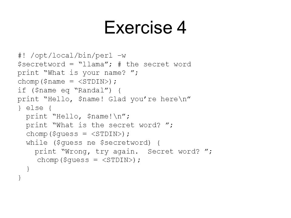 Exercise 4 #.