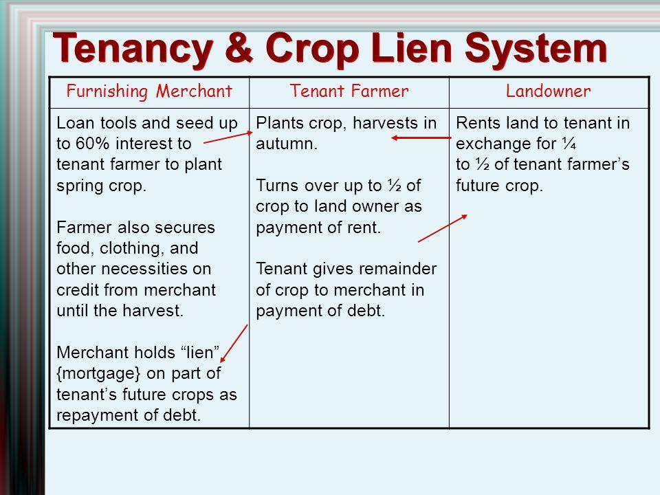 Tenancy & Crop Lien System Furnishing MerchantTenant FarmerLandowner Loan tools and seed up to 60% interest to tenant farmer to plant spring crop. Far