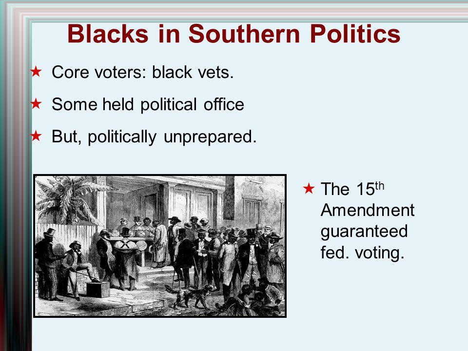Blacks in Southern Politics  Core voters: black vets.  Some held political office  But, politically unprepared.  The 15 th Amendment guaranteed fe