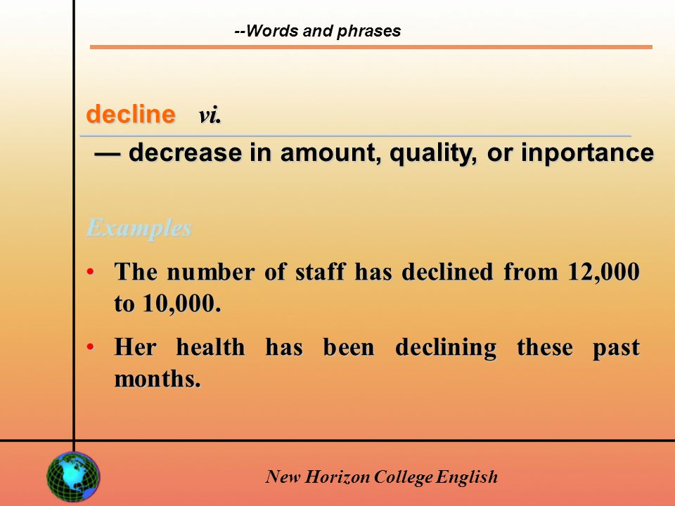 New Horizon College English decline v.
