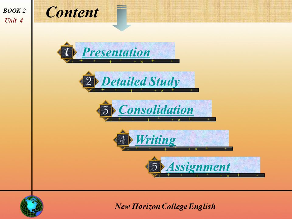 New Horizon College English longing longing n.[sing., U] —a strong feeling of wanting something; strong wish.