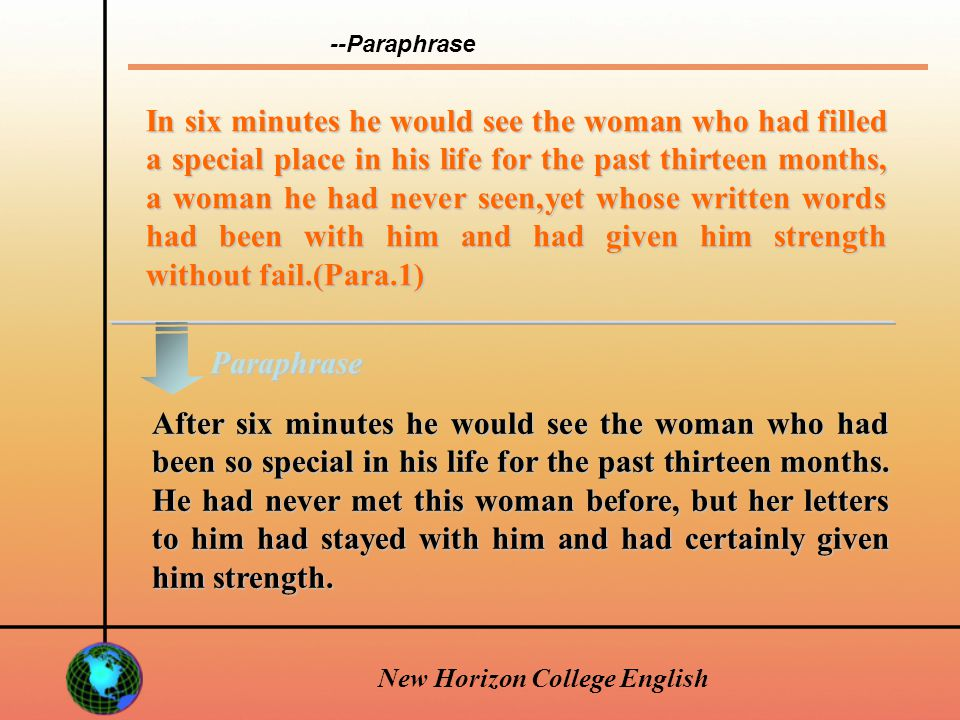New Horizon College English longing longing n.[sing., U] —a strong feeling of wanting something; strong wish.