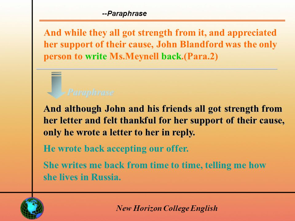 New Horizon College English Soon after he volunteered for military, he had received a book from this woman.(Para.2) Not long after he joined the military, he had received a book form this woman.