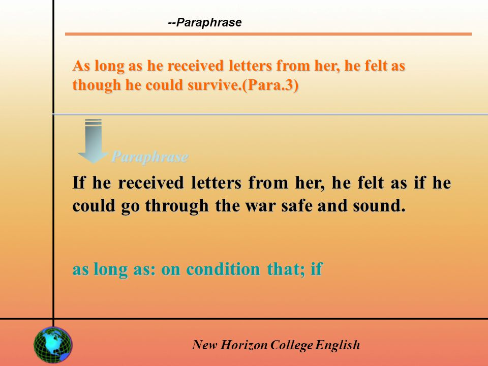 New Horizon College English During the difficult days of war, her letters nourished him and gave him courage.(Para.3) During the difficult days of war, her letters gave him strength and courage.