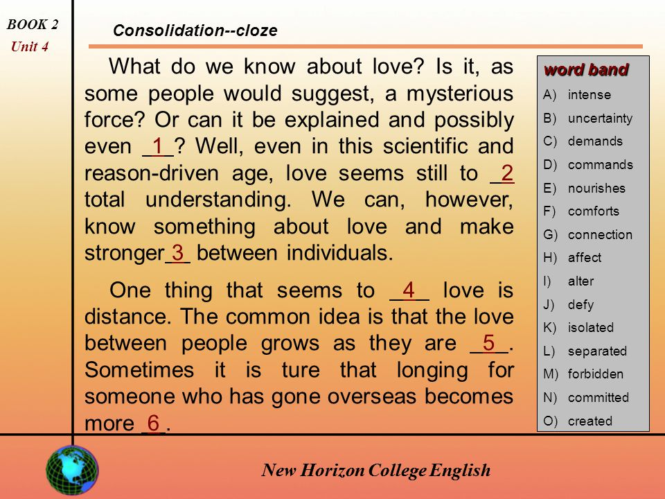 New Horizon College English This would not be love.