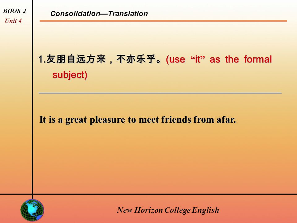 New Horizon College English Consolidation—Vocabulary Exercise BOOK 2 Unit 4 New Horizon College English Do Vocabulary Exercise on page 83 overseas identical decrease warmth forbid volunteer decline fancy resist objection aboard connection departure vanish compress 9.