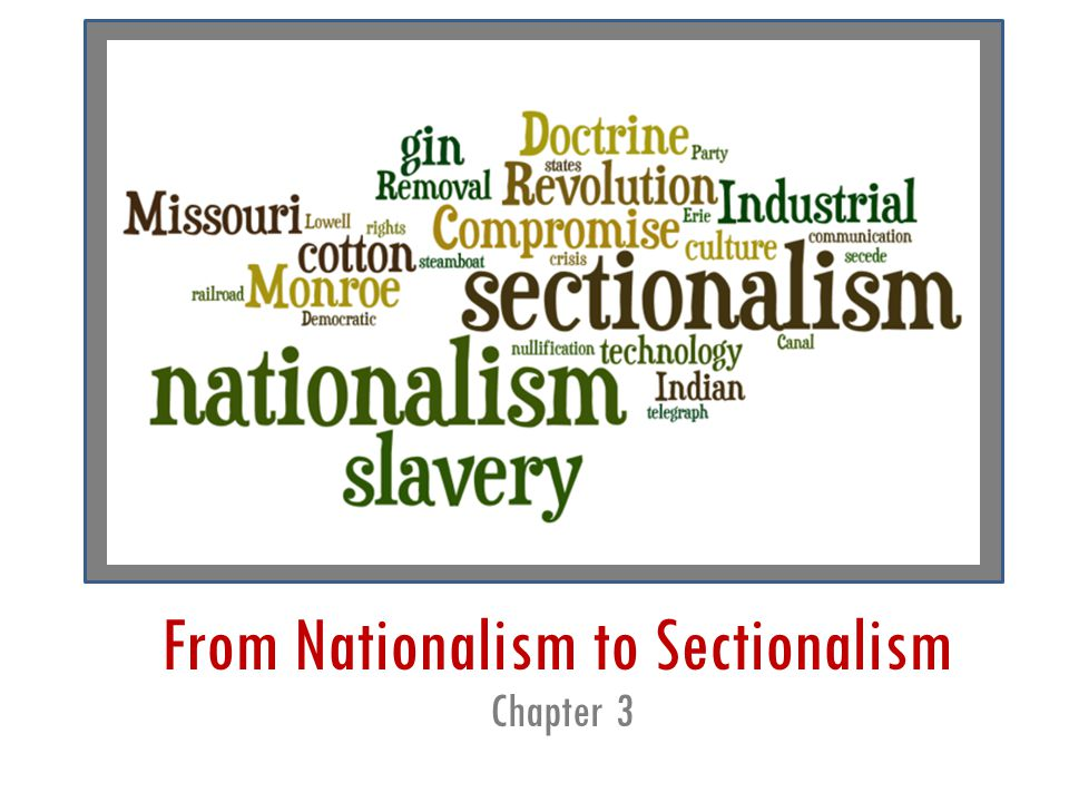 From Nationalism to Sectionalism Chapter 3