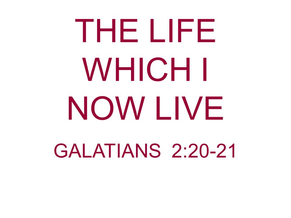 In our Scripture Reading Paul gives a concise, but complete definition of Christianity: The life Being a Christian is a chosen way of life.