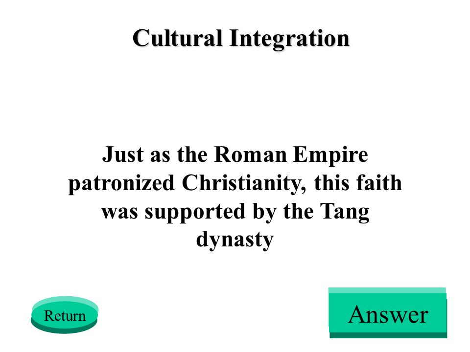 Cultural Integration Just as the Roman Empire patronized Christianity, this faith was supported by the Tang dynasty Return Answer