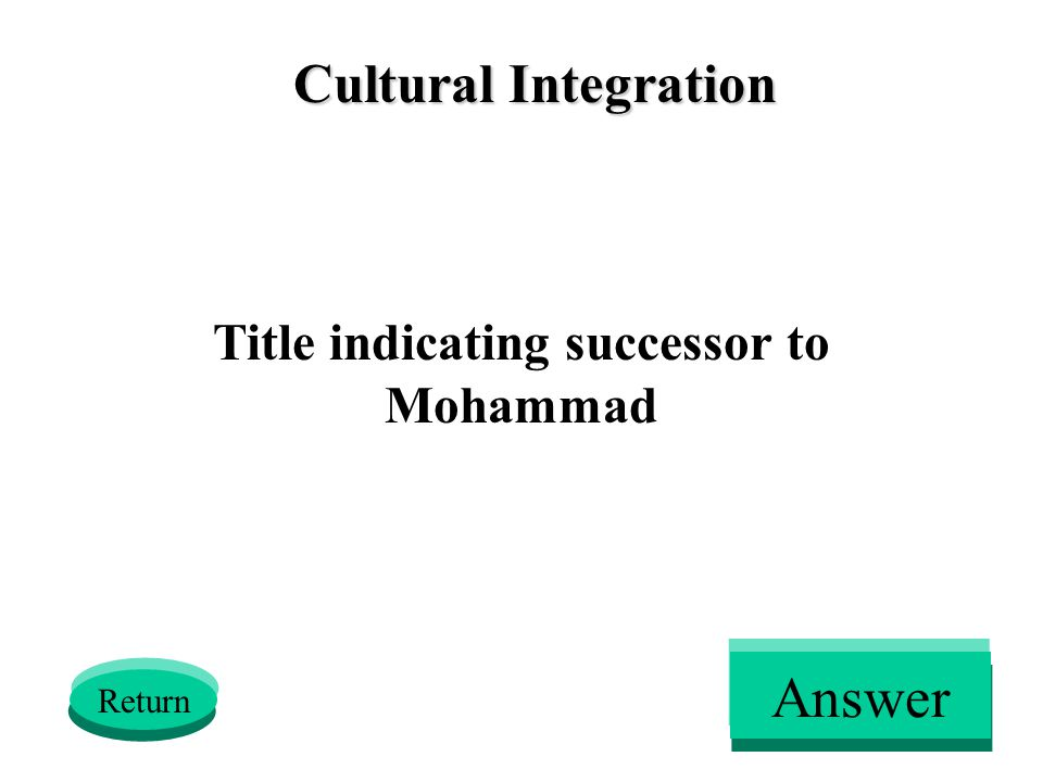 Cultural Integration Title indicating successor to Mohammad Return Answer