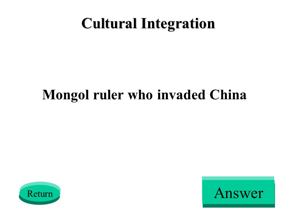 Cultural Integration Mongol ruler who invaded China Return Answer