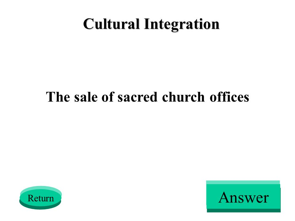 Cultural Integration The sale of sacred church offices Return Answer